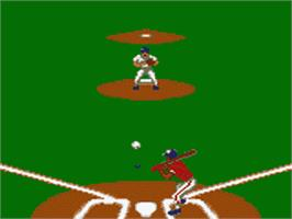 In game image of MLBPA Baseball on the Sega Game Gear.