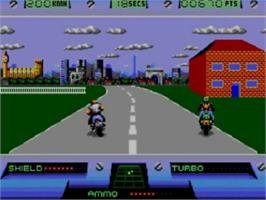 In game image of Out Run Europa on the Sega Game Gear.