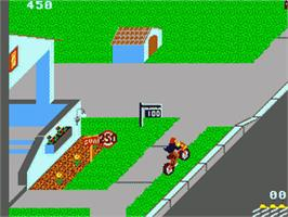 In game image of Paperboy on the Sega Game Gear.