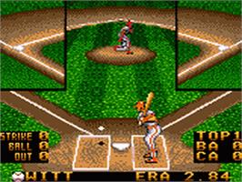 In game image of RBI Baseball '94 on the Sega Game Gear.