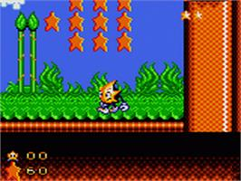 In game image of Ristar: The Shooting Star on the Sega Game Gear.