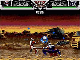 In game image of Saban's VR Troopers on the Sega Game Gear.