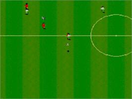 In game image of Sensible Soccer: European Champions: 92/93 Edition on the Sega Game Gear.
