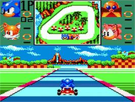 In game image of Sonic Drift on the Sega Game Gear.