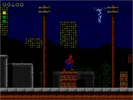 In game image of Spider-Man: Return of the Sinister Six on the Sega Game Gear.