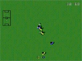 In game image of Super Kick Off on the Sega Game Gear.