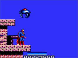 In game image of Superman: The Man of Steel on the Sega Game Gear.