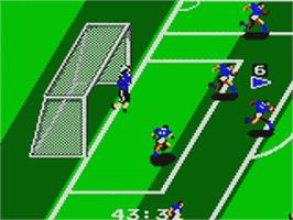 In game image of Tengen World Cup Soccer on the Sega Game Gear.