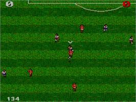 In game image of Ultimate Soccer on the Sega Game Gear.
