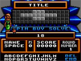 In game image of Wheel Of Fortune: Featuring Vanna White on the Sega Game Gear.