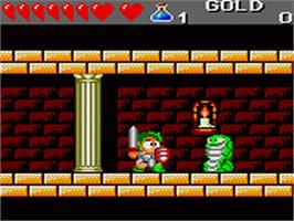 In game image of Wonder Boy III: The Dragon's Trap on the Sega Game Gear.