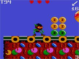 In game image of Zool on the Sega Game Gear.