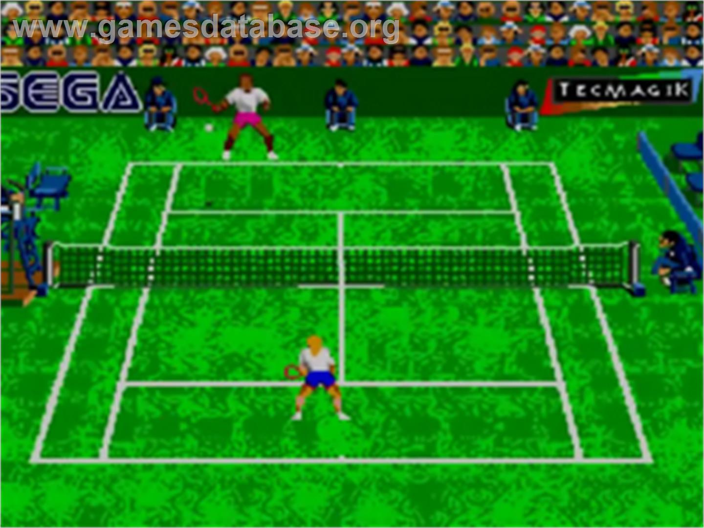 In game image of Andre Agassi Tennis on the Sega Game Gear.