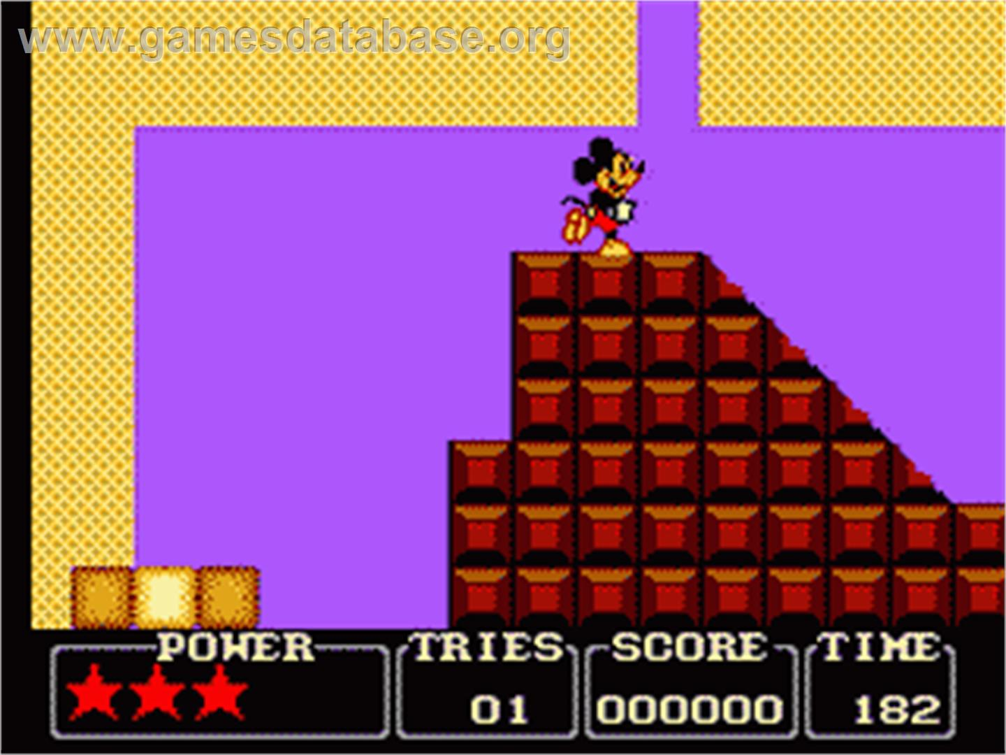 In game image of Castle of Illusion starring Mickey Mouse on the Sega