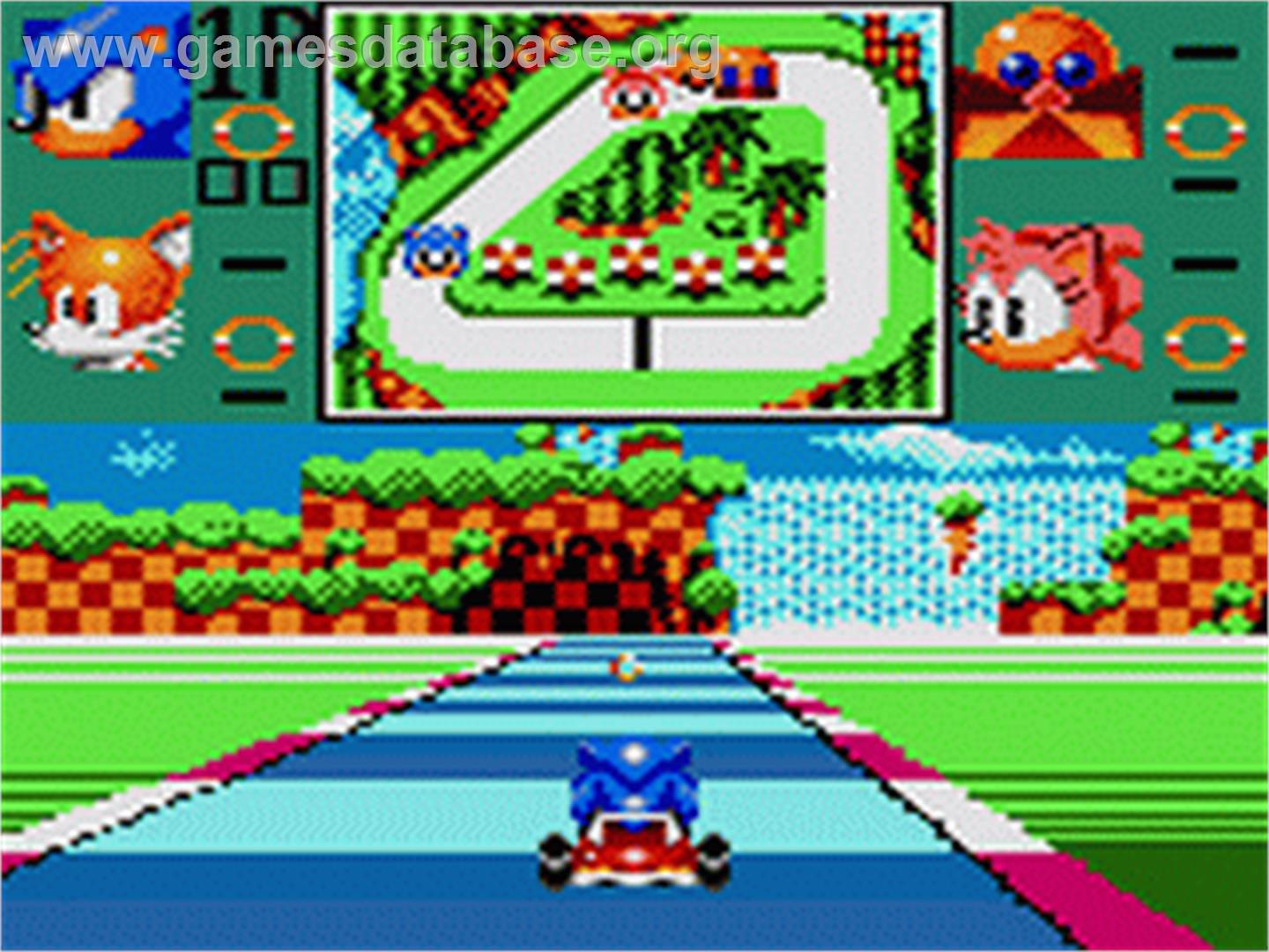 In game image of sonic drift 2 on the sega game gear