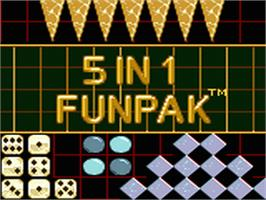 Title screen of 5 in 1 Funpak on the Sega Game Gear.