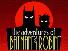 Title screen of Adventures of Batman and Robin on the Sega Game Gear.