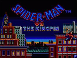Title screen of Amazing Spider-Man vs. The Kingpin on the Sega Game Gear.