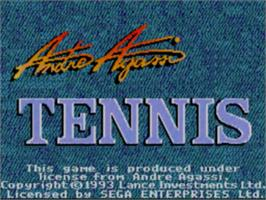 Title screen of Andre Agassi Tennis on the Sega Game Gear.
