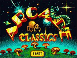 Title screen of Arcade Classics on the Sega Game Gear.