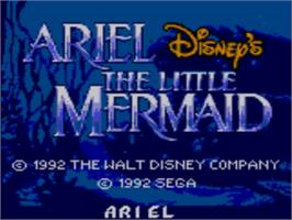 Title screen of Ariel the Little Mermaid on the Sega Game Gear.