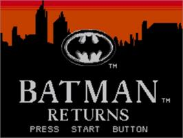 Title screen of Batman Returns on the Sega Game Gear.