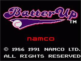 Title screen of Batter Up on the Sega Game Gear.