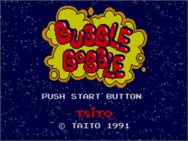 Title screen of Bubble Bobble on the Sega Game Gear.