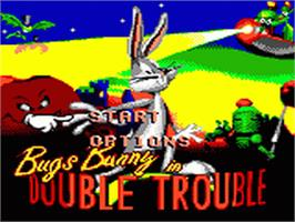 Title screen of Bugs Bunny in Double Trouble on the Sega Game Gear.