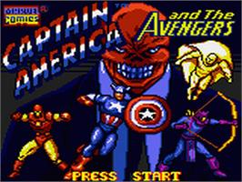 Title screen of Captain America and The Avengers on the Sega Game Gear.