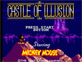 Title screen of Castle of Illusion starring Mickey Mouse on the Sega Game Gear.