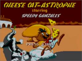 Title screen of Cheese Cat-Astrophe starring Speedy Gonzales on the Sega Game Gear.