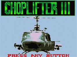 Title screen of Choplifter 3 on the Sega Game Gear.