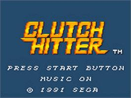 Title screen of Clutch Hitter on the Sega Game Gear.
