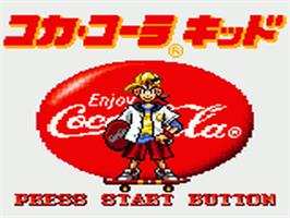 Title screen of Coca Cola Kid on the Sega Game Gear.