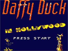 Title screen of Daffy Duck in Hollywood on the Sega Game Gear.