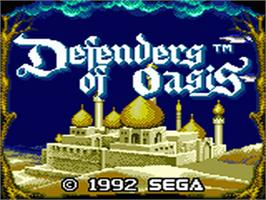 Title screen of Defenders of Oasis on the Sega Game Gear.
