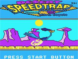 Title screen of Desert Speedtrap starring Road Runner and Wile E. Coyote on the Sega Game Gear.