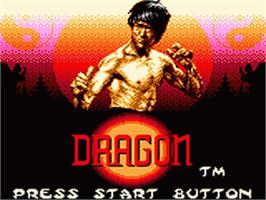 Title screen of Dragon: The Bruce Lee Story on the Sega Game Gear.