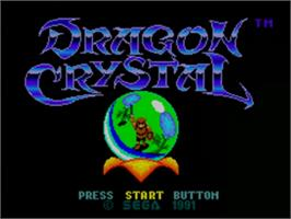 Title screen of Dragon Crystal on the Sega Game Gear.