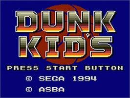 Title screen of Dunk Kid's on the Sega Game Gear.
