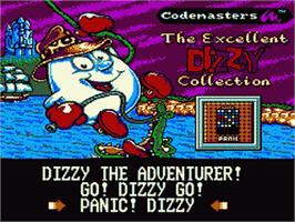 Title screen of Excellent Dizzy Collection on the Sega Game Gear.