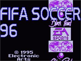 Title screen of FIFA 96 on the Sega Game Gear.