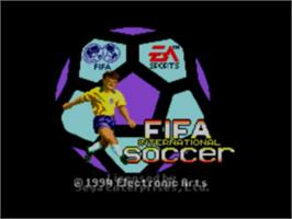 Title screen of FIFA International Soccer on the Sega Game Gear.