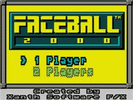 Title screen of Faceball 2000 on the Sega Game Gear.