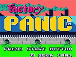 Title screen of Factory Panic on the Sega Game Gear.