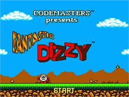 Title screen of Fantastic Adventures of Dizzy on the Sega Game Gear.