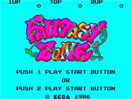 Title screen of Fantasy Zone on the Sega Game Gear.
