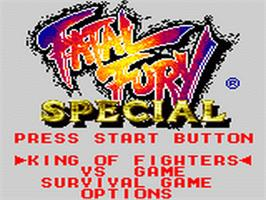 Title screen of Fatal Fury Special / Garou Densetsu Special on the Sega Game Gear.