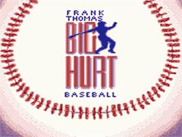 Title screen of Frank Thomas Big Hurt Baseball on the Sega Game Gear.